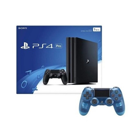 Playstation 4 Pro 1TB Console with Extra Crystal Blue Dualshock 4 Wireless Controller Bundle