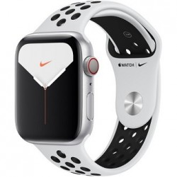 Apple Watch Series 5 (Nike+/GPS Only, 44mm, Silver Aluminum, Pure Platinum/Black Nike Sport Band)