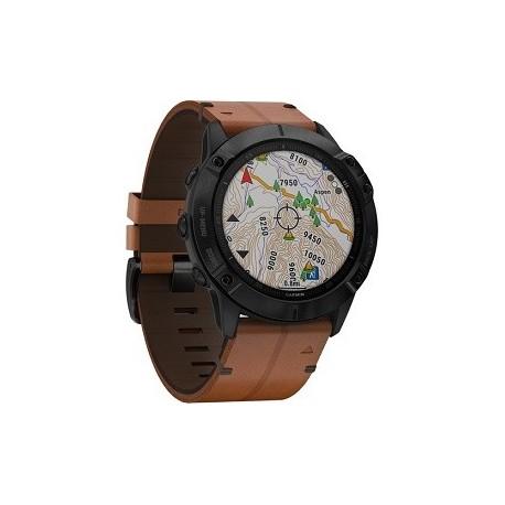 Garmin fenix 6X Multisport GPS Smartwatch (51mm, Sapphire, Black DLC / Chestnut Leather Band)